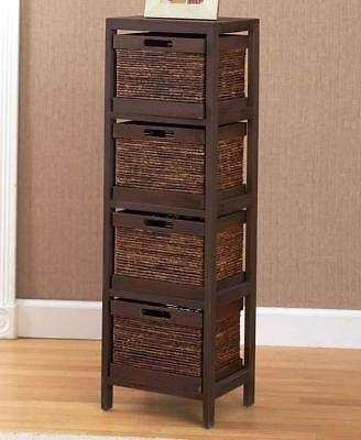 WALNUT Wood Storage Unit Tower with Drawer Baskets Office Bedroom Bath (Wood Storage Unit)