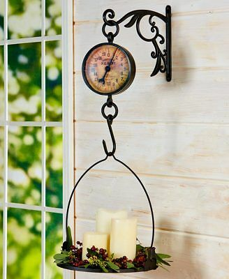 Primitive Antiqued Farmhouse Kitchen Vintage Metal Hanging Mercantile Scale