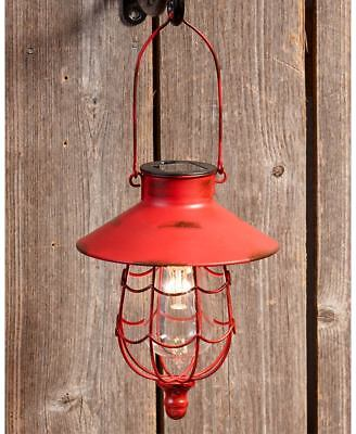 RED RUSTIC SOLAR HANGING LANTERN GARDEN OUTDOOR LAWN DECOR LED LAMP LIGHTS - Hanging Outdoor Decor