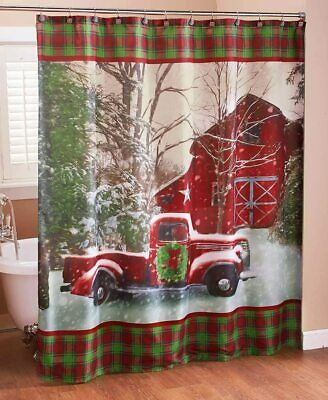 Christmas Shower Curtain with Vintage Red Truck, Barn and Holiday Trees