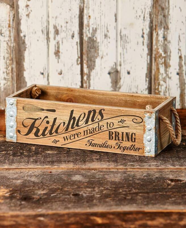 FARMHOUSE Rustic MDF Wood & Metal KITCHEN CRATE BOX~