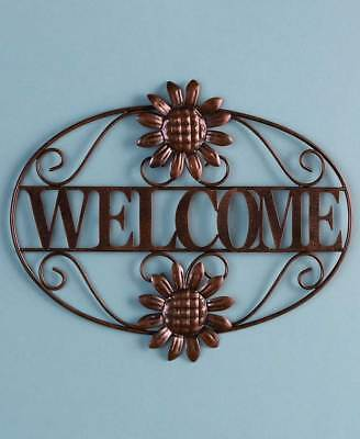 Outdoor Welcome Sign - Scrolled Metal Bronze Welcome Wall Plaque Outdoor Greeting Porch Sign Wall Decor