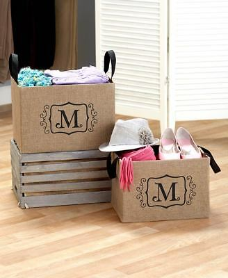 2 PERSONALIZED INITIAL MONOGRAM BURLAP STORAGE BIN Organize Toy Book Closet Mom - Personalized Storage Bins