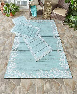 Blue & White Beach Driftwood Coral Outdoor Rugs Add Beauty to Patio Porch Deck ()
