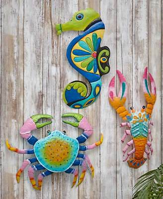 Colored Crab Lobster Metal Wall Art Coastal Seaside Tropical Seahorse Wall (Metal Crab)
