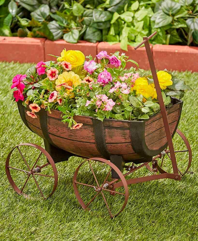 Rustic Country Barrel Wagon Flower Planter Plant Pot Stand G