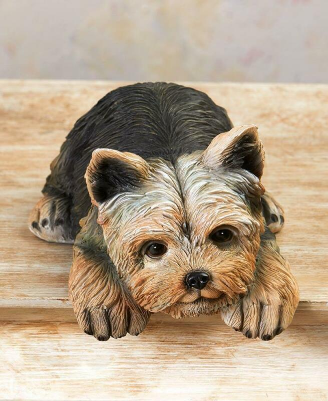 BEAUTIFULLY DETAILED YORKIE PUPPY DOG LOVER SHELF SITTER DOG BREED FIGURINE