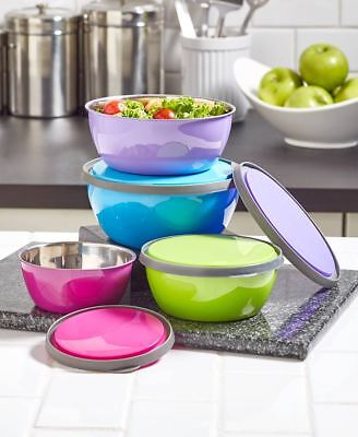 8 Pc Colorful Stainless Steel Bowl & Lid Set Food Storage Mixing Bowls Kitchen