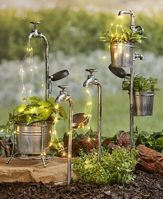 Solar Garden Stakes Water Faucet Fairy Light Yard Lawn Art Outdoor Home Decor Lighted Lawn Decorations