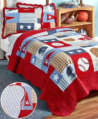 Queen Sports Room Bedding - Sports Quilt Set for Boy Room Full/Queen Reversible Baseball Football Basketball