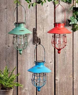RUSTIC SOLAR HANGING LANTERN GARDEN OUTDOOR LAWN DECOR LED LAMP LIGHTS - Hanging Outdoor Decor