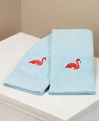 Tropical Beach Set of 2 Flamingo Hand Towels ()