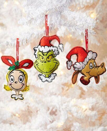Grinch Max Cindy Lou Felt Ornaments Department 56 Lot of 3 New