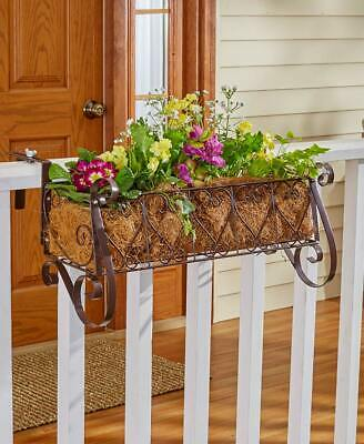Metal Scroll Heart Design Window Box Fence Coconut Lined Large Planter (Fence Window Box)