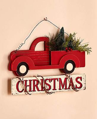 Vintage Style Wall Hanging Pick-Up Truck Christmas Sign W/ Greenery Home Decor