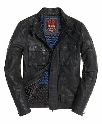 "Superdry Leather Rotor Jacket Black Size: XL 42"" (107cm) RRP £199.99"