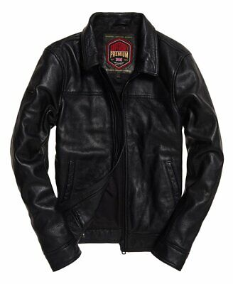 "New Superdry Curtis Leather Jacket Size: L 40"" (102cm) RRP £199.99"