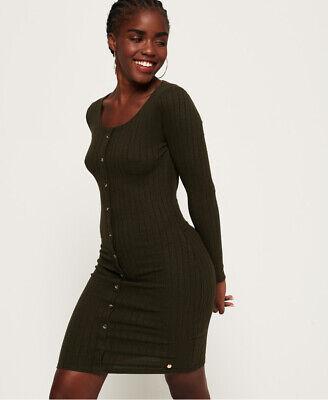 Superdry Womens Button Down Rib Mini Dress
