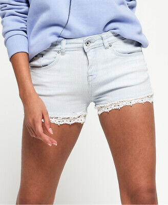 Superdry Womens Denim Lace Hot Shorts