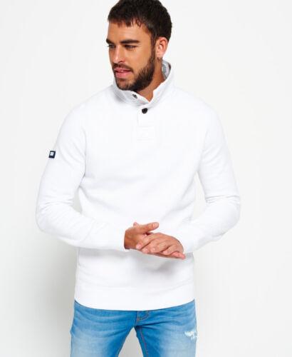 Neues Herren Superdry Academy Henley-Pullover Weiß