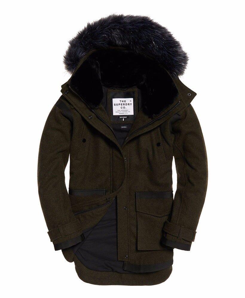 Womens Superdry Fjord Ovoid Parka Coat Khaki Size 14