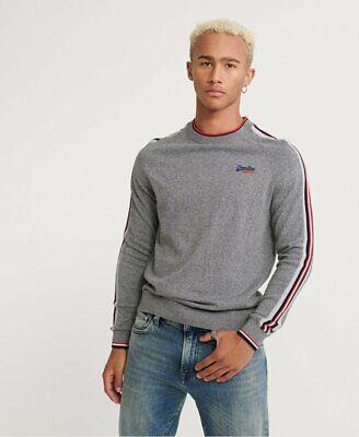 Superdry Orange Label Cotton Athletic Stripe Crew Jumper Gray Sweater Large