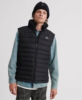Superdry Mens Fuji Double Zip quilted gilet Jacket Jet Black padded