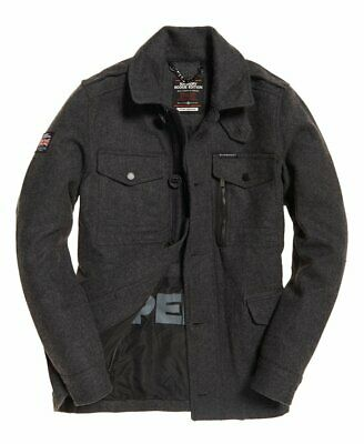 Men's Superdry Tito Four Pocket Wool Military Jacket Coat Large Charcoal Marl