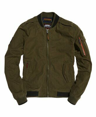 Superdry Men's Rookie Duty Bomber Jacket, Olive Green, Small/Slim Fit