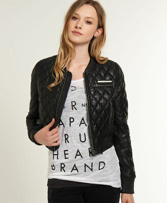 Superdry Womens Saint Quilted Leather Bomber Jacket
