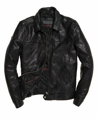 "Superdry Premium Indiana Leather Jacket Black Size: 2XL 44"" (112cm) RRP £449.99"