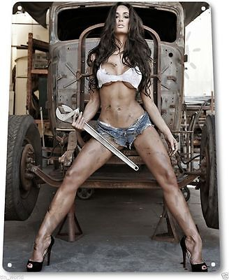 "TIN SIGN ""Big Wrench"" Metal Decor Wall Art Pin-up Girl Auto Shop Garage A780"