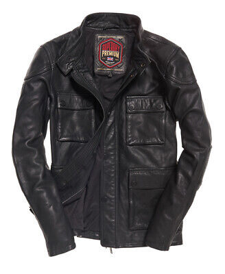 "New Mens Superdry Leather Rotor Jacket Black Size: M 38"" (97cm) RRP £199.99"