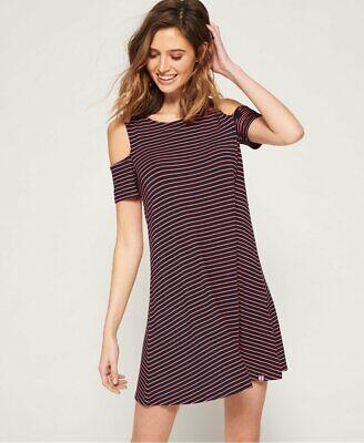 Superdry Navy & Pink Stripe Size XS Cold Shoulder Dress - Still in store!
