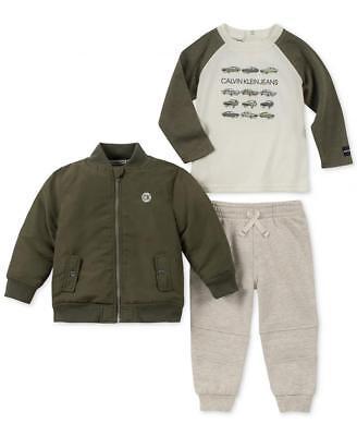 Calvin Klein Infant Boy Olive Bomber 3pc Jogger Set Size 3/6