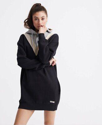 Superdry Alchemy Chevron Sweat Dress Black Size 4 Fits XS-S NEW