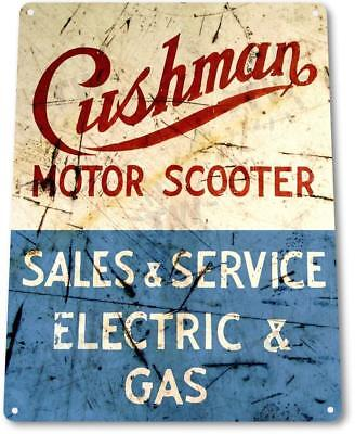 Cushman Scooter Service Motorcycle Shop Moped Bike Rustic Sign