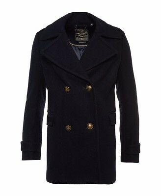 [Brand New with Tag]Superdry Women's Classic Pea Coat Jacket Navy Size M
