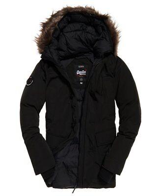 "New Superdry Rookie Down Parka Jacket Black Size: S 36"" (91cm) RRP £179.99"
