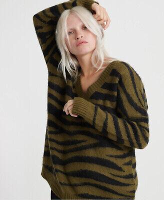 Superdry Womens Edit Zadie Zebra V-Neck Knit Jumper