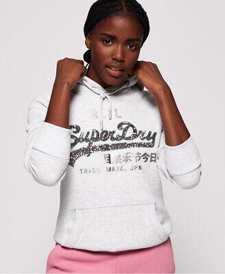 Superdry Womens Vintage Logo Sequin Outline Hoodie