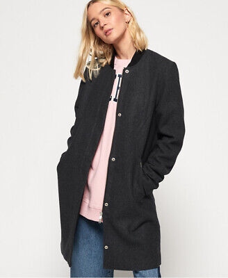 Superdry Womens Longline Wool Bomber Jacket