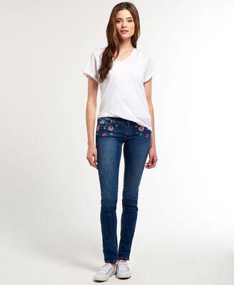 - Womens Superdry Super Skinny Embellished Jeans Malibu Lux