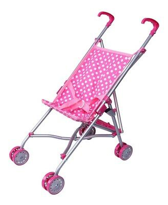 Precious Toys Pink, White Polka Dots Doll Stroller, Pink Handles, Silver Frame