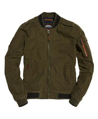 Superdry Men's Rookie Duty Bomber Jacket, Olive Green, Large New