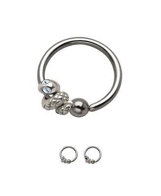 Steel Snake Captive Bead Ring Charm Ear Nose Septum Hoop 22G 20G 18G 16G