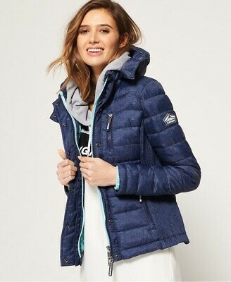 Superdry Fuji Slim Double Zip Hooded Women's Jacket Size Uk14