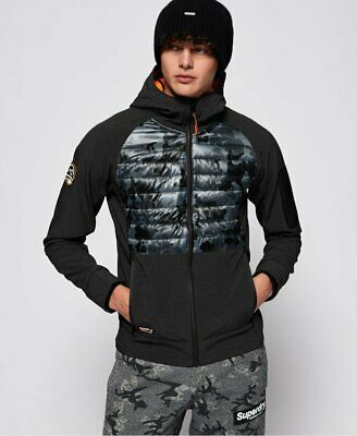 Superdry Mountain Soft Shell Hybrid Jacket Charcoal Grit/camo Size Small S