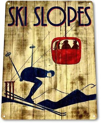 Ski Lodge Decor (Ski Slopes Lift Resort Lodge Cabin Rustic Skiing Metal Decor Sign)