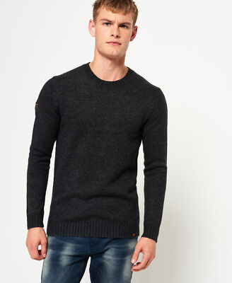 New Mens Superdry Arno Crew Neck Jumper Charcoal